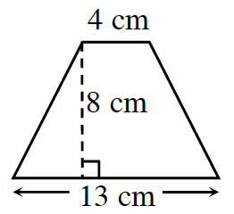A trapezoid with horizontal parallel bases: bottom is 13 cm, and top is 4 cm. A dashed line, labeled 8 cm, perpendicular to both bases, connects the bases.