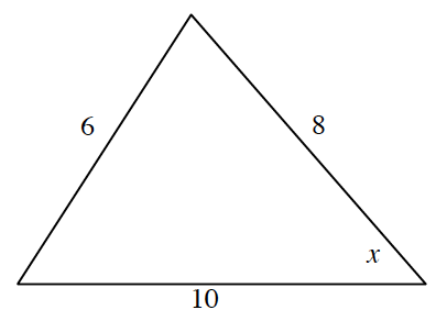 Triangle, horizontal bottom labeled, 10, right side labeled 8, left side labeled 6, bottom right angle labeled x.