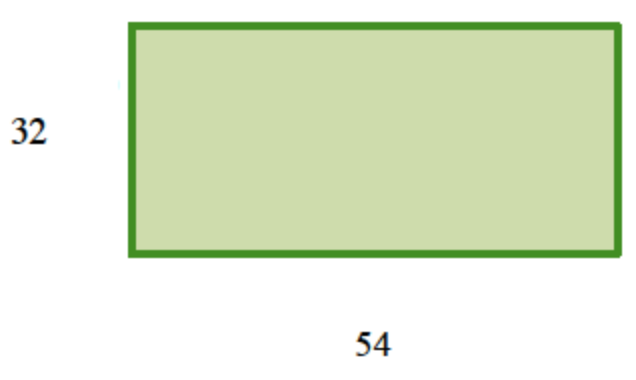 A horizontal rectangle labeled as follows: bottom edge, 54, left edge, 32.