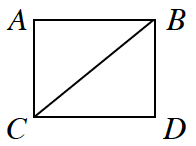 Square A, B, D, C, is cut diagonally from the upper right corner to the lower left corner. This forms triangles A B C and B C D.