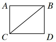 Un cuadrado A B C D está cortado en diagonal desde el ángulo superior derecho hasta el ángulo inferior izquierdo. Esto forma los triángulos A B C y B C D.