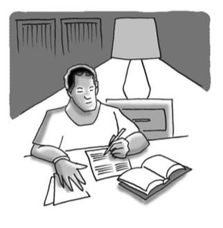 Student doing homework.