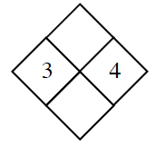 Diamond with 3 in left and 4 in right diamond.