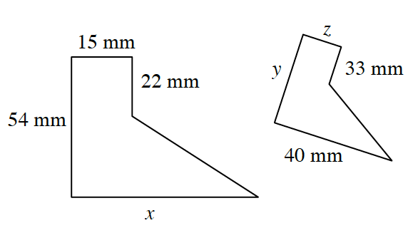 Two 5 sided enclosed figures.  The larger figure goes up 54 mm, then right 15 mm, then down 22 mm, then diagonally right and down, an unknown length, then back to start to enclose the figure a distance of x. The smaller figure goes up y distance, right z distance, down 33 mm, diagonally right and down, an unknown length, and back to start 40 mm to enclose the figure.