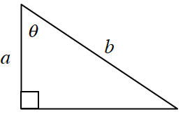 A right triangle with a height of, a, and hypotenuse of, b. Angle theta is opposite the unknown side.