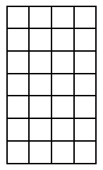 A rectangle with 7 rows of 4 tiles in each row.