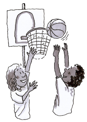 Two kids playing basketball image