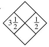 Diamond Problem. Left  3 and 1 divided by 2, Right 1 divided by 2, Top blank,  Bottom blank