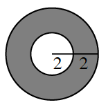 2 circles, 1 inside the other, both with same center, with area between the circles shaded. Line segment from center to outer circle edge, is cut in half where the Inner circle intersects the segment, each half labeled, 2.