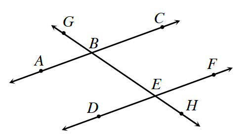 Two lines A, C and D, F are cut by a transversal G, H. Point B is the intersection of A, C and G, H. Point E is the intersection of G, H and D, F.