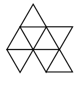 A net of 8 equilateral triangles alternating up & down to share a side, across rows, and between rows, arranged in 3 rows, with 4 possible positions from left to right as follows: Row 1: second, up, Row 2: first, up, second, down, third, up, fourth, down. Row 3: first, down, third, down, fourth, up.