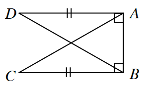 Rectangle A, B, C, D where side D, C, is missing. Instead diagonals D, B and A, C, are drawn.
