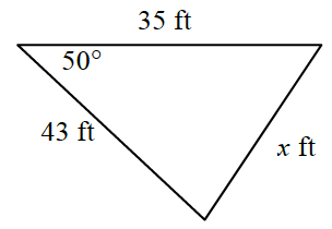 Triangle labeled as follows: base, 35 feet, left side, x feet, right side, 43 feet, right base angle, 50 degrees.