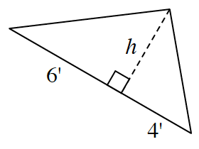 A triangle has two internal triangles created by a line segment, h, drawn from the upper vertex perpendicular to the base. The internal triangle on the left has a base of 6 units. The internal triangle on the right has a base of 4 units.