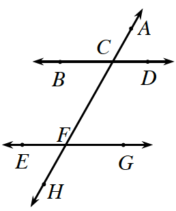 An increasing transversal line, A, H, crosses 2 horizontal parallel lines, B, D, at the top, and E, G at the bottom. At the upper intersection, exterior left angle is, C. At the lower intersection, interior left angle is, F.