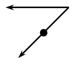 Two line segments that intersect to form an angle with a point located half way on one line.