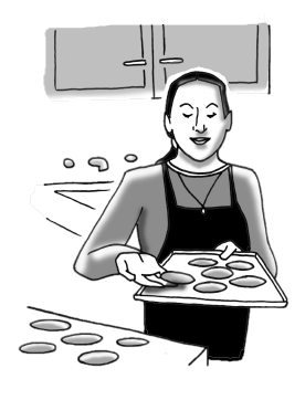 Ms. B baking cookies.