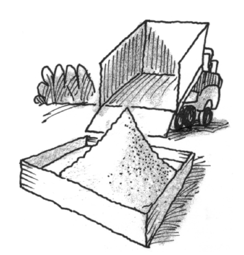 Truck dumping sand in a sandbox forming a cone of sand