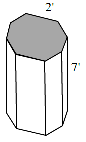 A regular octagonal prism with a side length of 2 feet and a height of 7 feet.