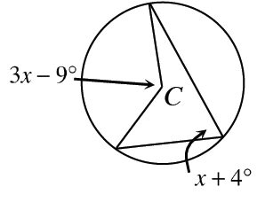 A circle, center labeled, C, with a central angle labeled, 3, X, minus 9 degrees, and an inscribed angle, labeled, X, + 4 degrees. Each angle intercepts the same arc.