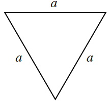A triangle with 3 equal side lengths of a.