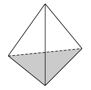 Tetrahedron sitting on shaded triangle base.
