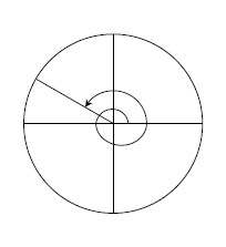 Unit circle, point in second quadrant, about 1 third of the way from negative x axis, segment from center to point, curved counter clockwise arrow from positive x axis, circling through all axes, continuing through positive y axis a second time, ending at the segment.