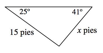 Triángulo con el lado superior horizontal, con rótulos como sigue: lado derecho, x pies; lado izquierdo, 15 pies; ángulo superior derecho, 41 grados; ángulo superior izquierdo, 25 grados.