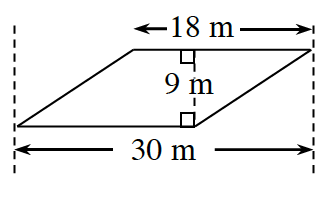 A parallelogram with a horizontal span of 30 meters from the far left vertex to the far right vertex. The top base 18 meters. A right triangle is created by a line segment of 9 m perpendicular to the bases meeting at a vertex.
