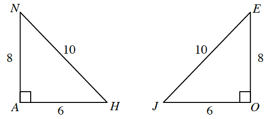 Triangle A,B,N, labeled as follows: angle a, 90 degrees, horizontal leg, A,H, 6, vertical leg, A,N, 8, hypotenuse, H,N, 10. Triangle E,O,J, labeled as follows: angle O, 90 degrees, horizontal leg, J,O, 6, vertical leg, E,O, 8, hypotenuse, E,J, 10.