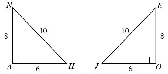 Triangle A,H,N, labeled as follows: angle a, 90 degrees, horizontal leg, A,H, 6, vertical leg, A,N, 8, hypotenuse, H,N, 10. Triangle E,O,J, labeled as follows: angle O, 90 degrees, horizontal leg, J,O, 6, vertical leg, E,O, 8, hypotenuse, E,J, 10.