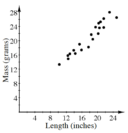 graph of length(inches) by mass(grams)