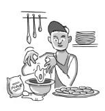 Sammy baking cookies.