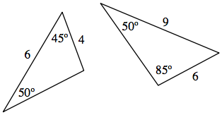 Two triangles. Left triangle has angles 50 & 45 degrees with the side opposite the unknown angle having a length of 6 while the side opposite the 50 degree angle is 4. The right triangle has the angles 50 and 85 degrees with the side opposite the 85 degree is 9 and the side opposite the 50 degree angle is 6.