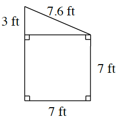 A square with a right triangle, resting on top. The triangle has left side labeled, 3 ft, slanted, right side, labeled 7.6 ft, bottom side, shared with square, unlabeled. The square has right side labeled 7 ft, bottom side labeled 7 ft, left side unlabeled.