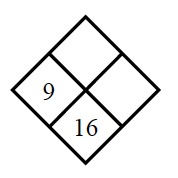 Diamond Problem. Left 9, Right blank, Top blank,  Bottom 16