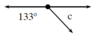 Two adjacent angles together form a line. The angle on the left is, 133 degrees. The angle on the right is, C.