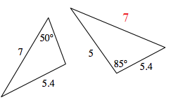 Label Added to right triangle, side opposite 85 degrees, 7.