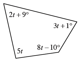 A four sided polygon, with interior angles labeled as follows: 2, T + 9 degrees, 3, T, + 1 degrees, 8, T, minus 10 degrees, and 5, t.