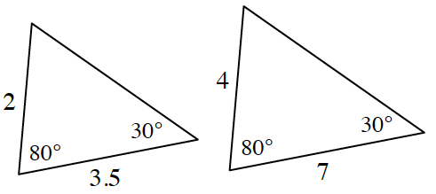 Two triangles. Triangle at left with sides, 2 units and 3.5 units . An angle, 80 degrees, is between the 2 sides.  The angle opposite the side with 2 units is 30 degrees. Triangle at right with sides 4 units and 7 units. An angle, 80 degrees, is between the 2 sides.  The angle opposite the side with 4 units is 30 degrees.