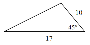 triangle with sides 10, and 17, and angle 45 degrees