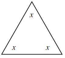 An equilateral triangle with angles labeled x.