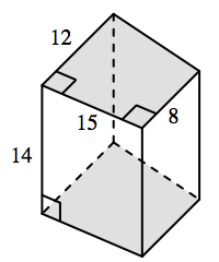 Prism, with top base, a 4 sided polygon, sides labeled as follows: left, 12, bottom, 15, right, 8, with left, and right, base angles, marked as 90 degrees. Front, rectangular side, has left edge labeled, 14.
