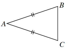 Triangle B, A, C. Side B, A, and side A, C, are equal length.