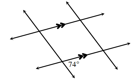 Two horizontal parallel lines are cut by two transversals. About the point of intersection of the bottom parallel line and the left transversal, the interior right angle is 74 degrees.