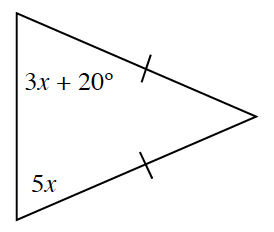 A triangle where two of the sides each have 1 tick mark. The base angles are,3 x + 20, and 5, x, degrees.