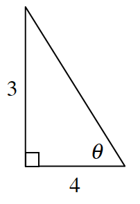 A right triangle with a base of 4 and height of 3. Angle theta is opposite the side of 3.