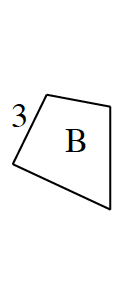 A smaller, 4 sided polygon, labeled b, oriented the same way, has left side labeled: 3.
