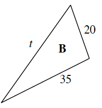 A triangle labeled B, with sides labeled, in order from shortest to longest: 20, 35, and t.