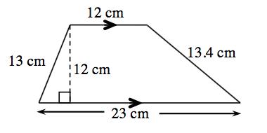 Trapecio con las bases paralelas horizontales, con los lados rotulados como sigue: izquierdo, 13 centímetros; arriba, 12 centímetros; derecho, 13.4 centímetros; abajo, 23 centímetros. Hay un segmento de recta punteado, rotulada 12 centímetros, trazado desde el vértice superior izquierdo hasta la base de abajo, en ángulos rectos.